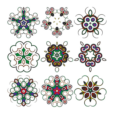 Mandala - circular pattern. A vector pattern from color spirals for your designs. Spirals and pattern elements of red, blue, yellow and green color. A set of nine elements.