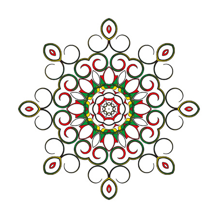 nodules: Mandala - circular pattern. A pattern from color spirals for your designs. Spirals and pattern elements of red, blue,  yellow and green color. Vector pattern.