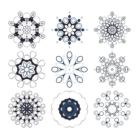 decorative items: Decorative items to decorate your work. Vector design elements. Vector graphic elements for design. Geometric fashion pattern. A set of nine circular patterns.