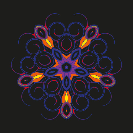 helical: Mandala - circular pattern. A pattern from color spirals for your designs. Vector pattern. Cute circular pattern of helical elements on a black background.