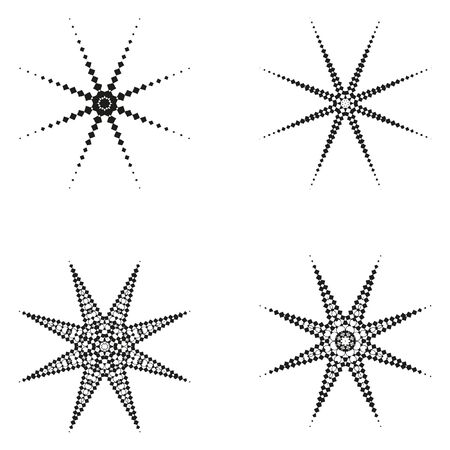 four elements: Decorative items to decorate your work. Vector design elements. Vector graphic elements for design. Geometric fashion pattern.  Vector star, snowflake, round pattern. A set of four elements.