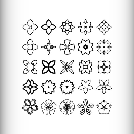 asterisks: Decorative design elements. Circle ornament. Set of 25 vector circular patterns, florets, snowflakes, asterisks for decoration of your works.