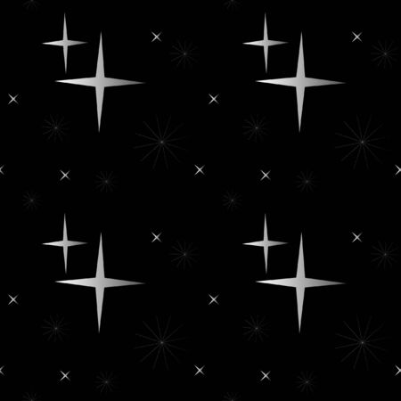 fanciful: Abstract background. Winter Gala background. White stars on a black background. Seamless vector background.