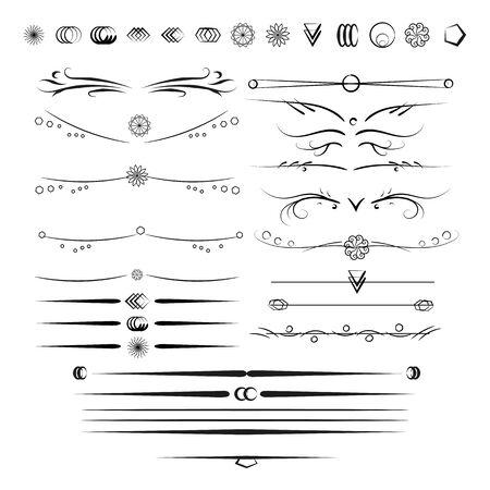 Eine Reihe von dekorativen Elemente Ihrer Arbeit zu dekorieren. Design-Elemente. Set von Vektor-Grafik-Elemente für das Design. Text Teiler. Standard-Bild - 51611333