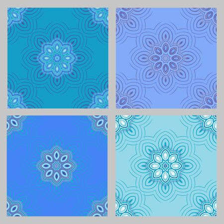 four elements: Seamless pattern background. Elegant luxury texture for wallpapers, backgrounds and page fill. Floral ornament. Set of four elements of floral pattern.