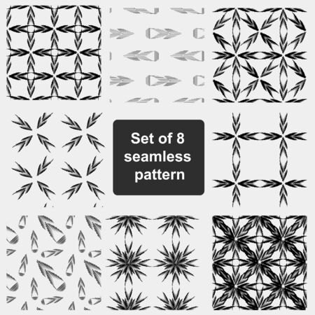 multidirectional: Set of 4 monochrome elegant seamless patterns. Seamless geometric pattern in a contrasting black and white tones.  Monochrome background of multidirectional arrows. Stock Photo