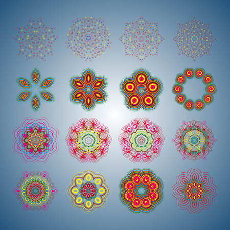 intricacy: Round pattern. A pattern from color spirals for your designs. Spirals and pattern elements of red, blue and green color. Vector pattern. Set of 16 circular patterns. Illustration