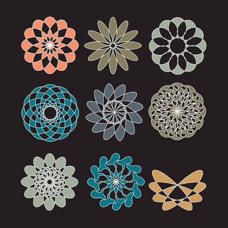 logo element: Set of ornate vector mandala symbols. Set of knot symbols, geometric design decorative elements. Set of ornamental round frames.
