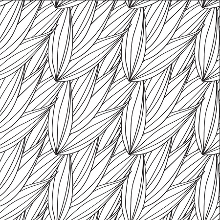 Seamless vector pattern of interwoven leaves. The plaiting of the leaves, ears of corn. Vector seamless pattern. Monochrome ornament with stylized leaves. Geometric stylish background.