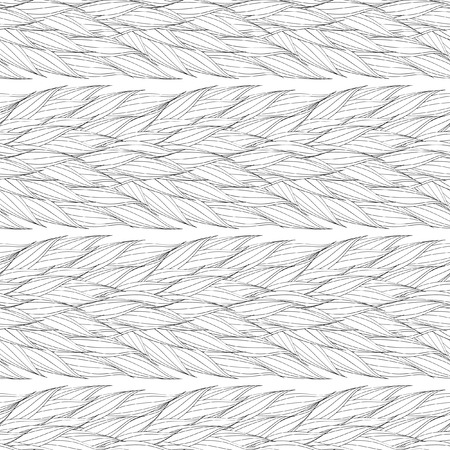 plaiting: Seamless vector pattern of interwoven leaves. The plaiting of the leaves, ears of corn. Vector seamless pattern. Monochrome ornament with stylized leaves. Geometric stylish background.