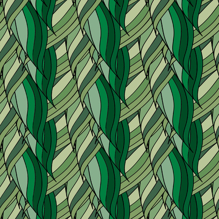 Seamless vector pattern of interwoven green leaves. The plaiting of the leaves, ears of corn.