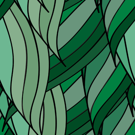 plaiting: Seamless vector pattern of interwoven green leaves. The plaiting of the leaves, ears of corn. Illustration