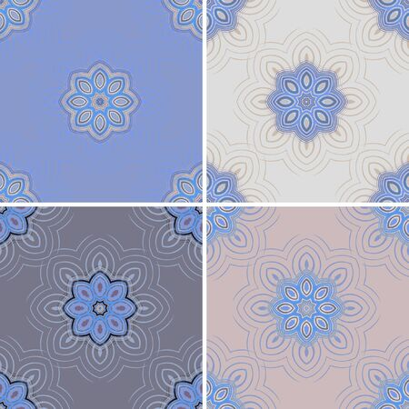 four elements: Vector seamless pattern background. Elegant luxury texture for wallpapers, backgrounds and page fill. Floral ornament. Vector drawing. Set of four elements of floral pattern.