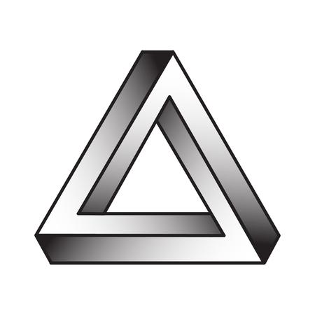 Triángulo de la ilusión óptica del vector gradiente, elemento abstracto del diseño geométrico. Ilustración de vector