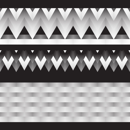 fills: Black and white gradient. Vector drawing. Geometric vector illustration. Triangle, square, rhombus, star with a complex gradient fills.