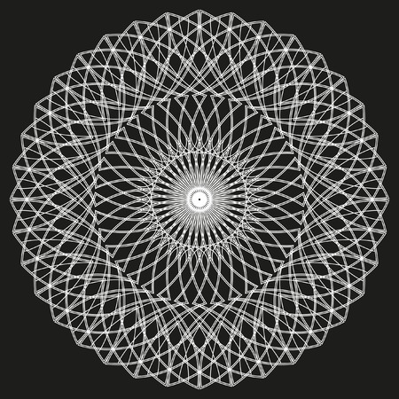 oscillation: Monochrome elegant circular pattern in black and white. Circular mathematical ornament. A vector circular pattern from the crossed circles. Mandala.