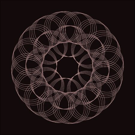 black background texture: Lacy pattern of intersecting circles. Vector mathematical pattern. Geometric round pattern. Illustration