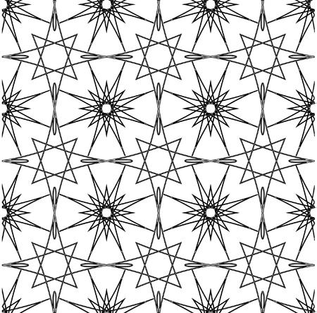 ベクトル数学パターン。複雑な幾何学模様。細い線のシームレスなパターン。黒と白のモノクロ飾り。