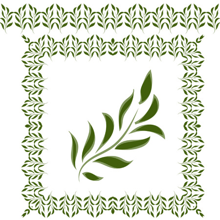 environmental issues: Green leaves and green frame to decorate your work on environmental issues.