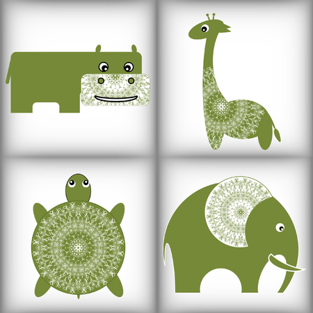 behemoth: African animals. Stylized vector illustration. Lace trim. Small lovely toy with lace: lion, elephant, hippopotamus and giraffe. Illustration