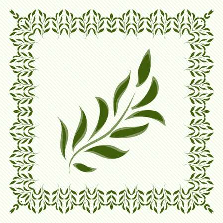 environmental issues: Green leaves and green frame to decorate your work on environmental issues. Vector drawing.
