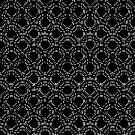 contrasting: Monochrome elegant seamless pattern in black and white. Vector seamless geometric pattern in a contrasting black and white tones. Vector seamless background of overlapping striped circles. Illustration