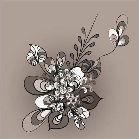 braun: Composition of stylized flowers and leaves. Abstract vector illustration. Element for creating greeting cards,greetings, invitations. Illustration