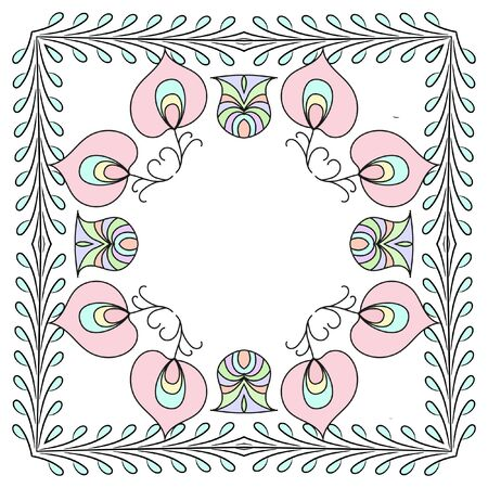 interlocked: Flower circular pattern in pastel colors. A circular vector design featuring interlocked rings and acanthus leaf elements.