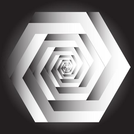 Optische illusie van de gradiënt vector, abstract geometrisch ontwerp element. Printoptical illusie symbolen, Impossible sign