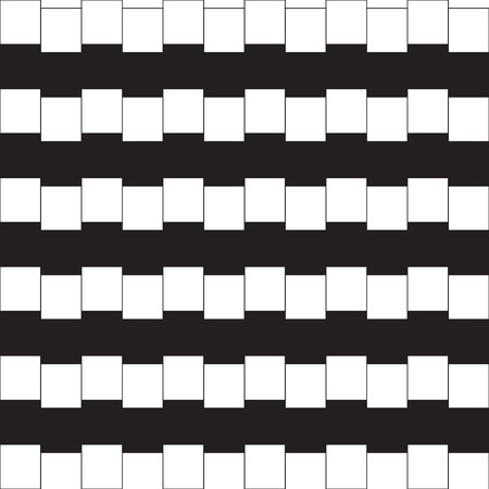 perceptual: Optical illusion - parallel lines made from black and white pillows
