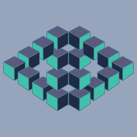 illusion: Optical illusion, abstract geometric design element. Printoptical illusion symbols, Impossible sign. Colored vector design