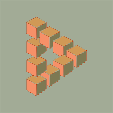 trickery: Optical illusion, abstract geometric design element. Printoptical illusion symbols, Impossible sign. Colored vector design