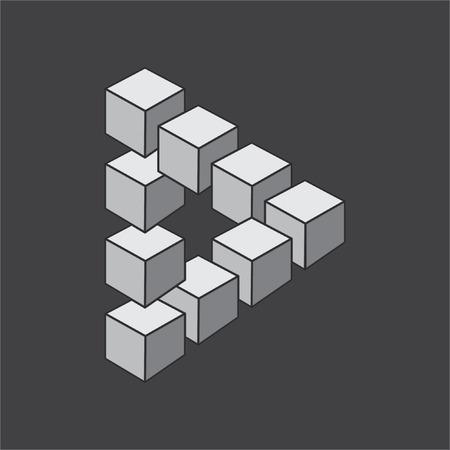 sensory perception: Optical illusion, abstract geometric design element. Printoptical illusion symbols, Impossible sign. Monochrome vector design