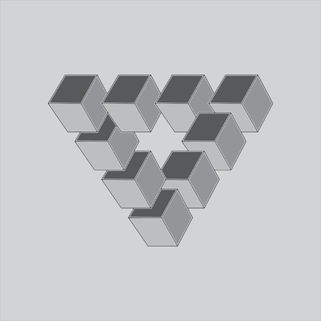 Optical illusion, abstract geometric design element. Monochrome vector design
