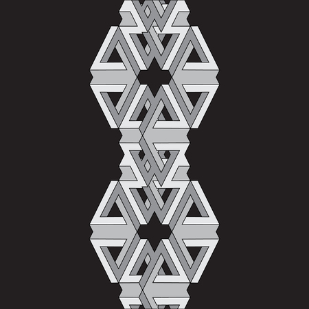 metaphorical: Abstract geometrical monochrome vector pattern. Vector illustration. Optical illusion.