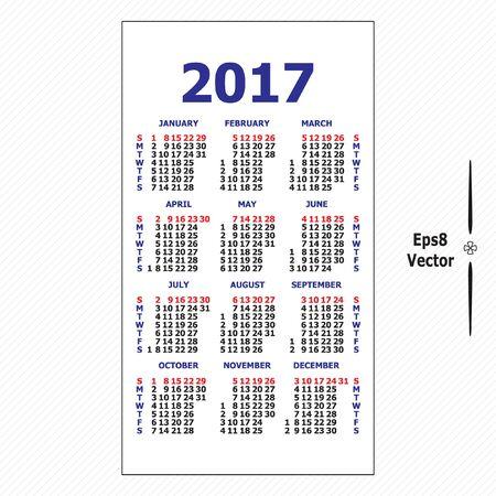 vertical orientation: 2017 pocket calendar. Template calendar grid. Vertical orientation of days of week. Vector  illustration.