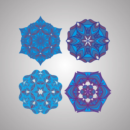 decorative items: Decorative items to decorate your work. Vector design elements. Vector graphic elements for design. Geometric fashion pattern. Vector mandala. Set of four circular patterns