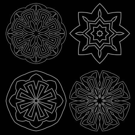 decorative items: Decorative items to decorate your work. Vector design elements. Vector graphic black-white elements for design. Geometric fashion pattern. Vector mandala. Set of four circular patterns