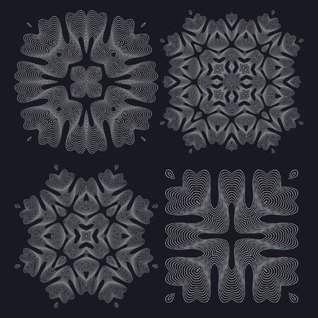 twisting: Monochrome elegant round pattern. Vector circular pattern from twisting lines. Mandala. Illustration