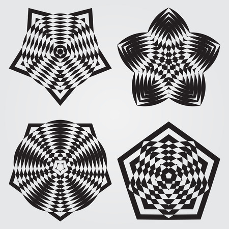 decorative items: Decorative items to decorate your work. Vector design elements. Vector graphic elements for design. Geometric fashion pattern. Vector star, snowflake, round pattern. A set of four elements