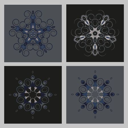 nodules: Mandala - circular pattern. A pattern from spirals for your designs. Vector pattern set. Monochrome drawing. The circular pattern of the elements of spirals. Illustration