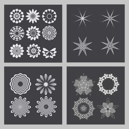 decorative items: Decorative items to decorate your work. Vector design elements. Vector graphic elements for design. Geometric fashion pattern. A set of 21 circular patterns.