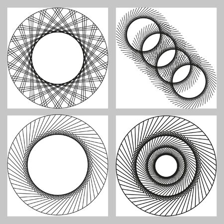 complex: A complex pattern of circles. Geometric circular pattern. Black and white concentric circles. Set of 4 elements