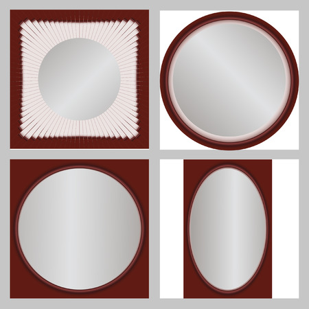 white backing: Round vector frame. Interesting frame with a white backing for photos or text. The vector image. Set of 4 elements.