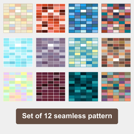 checkerboard backdrop: Set seamless geometric pattern Seamless colorful brick wall background Illustration