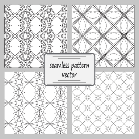 variously: Vector seamless pattern set. Modern stylish texture. Repeating geometric background with rhombus and nodes from rhombuses with circles variously sized in nodes