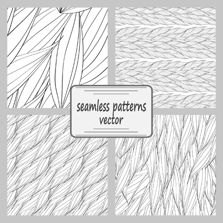 plaiting: Seamless vector pattern of interwoven leaves. The plaiting of the leaves, ears of corn. A set of 4 patterns.