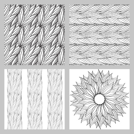 plaiting: Seamless vector pattern of interwoven leaves and a circular pattern. The plaiting of the leaves, ears of corn.