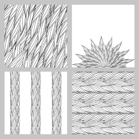 plaiting: Seamless vector pattern of interwoven leaves and circular pattern. The plaiting of the leaves, ears of corn.