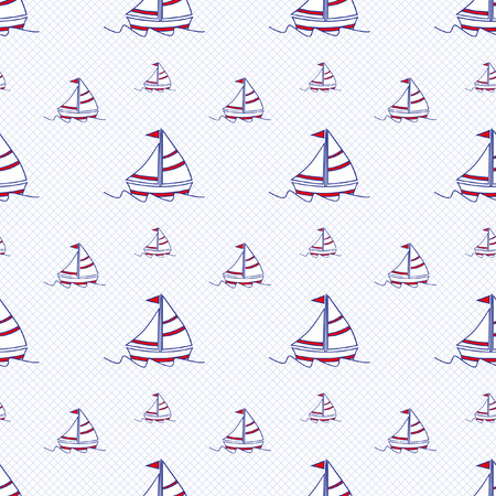 sail boats: Seamless baby vector pattern. Many small colored sail boats on white background Illustration